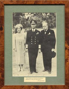 """King George VI, Queen Elizabeth and Prime Minister Winston Churchill"""