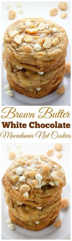 Brown Butter White Chocolate Macadamia Nut Cookies - SO thick and chewy! Brown Butter White Chocolate Macadamia Nut Cookies - SO thick and chewy! Yummy Cookies, Yummy Treats, Sweet Treats, Baking Cookies, Köstliche Desserts, Dessert Recipes, Plated Desserts, Healthy Desserts, Chocolate Chip Cookies