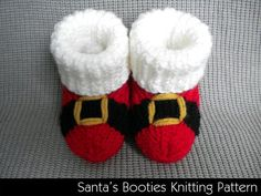 Santa Baby Booties Knitting Pattern - sizes: months, 6 months, 12 months and you can sell items made from the pattern tba holiday wear Baby Booties Knitting Pattern, Crochet Baby Booties, Crochet Slippers, Baby Knitting Patterns, Knit Crochet, Crochet Patterns, Baby Patterns, Knitted Baby, Knitting For Kids