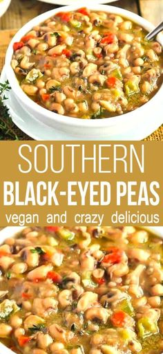 Enjoy flavorful and classic Southern Black-Eyed Peas (Vegan). seasoned with onions, garlic, peppers, and thyme. Oh my this Southern Black Eyed Peas recipe is so comforting on cold winter nights. Entree Recipes, Bean Recipes, Vegetarian Recipes, Dinner Recipes, Healthy Recipes, Vegan Soul Food Recipes, Healthy Southern Recipes, Vegan Soups, Southern Food
