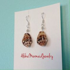 Spotted Stromb Silver Earrings,Sterling Silver Wire Wrap,Hawaiian Conch Seashell Drops,Handmade Hawaii Shell Jewelry,Brown White Cone Shell - pinned by pin4etsy.com