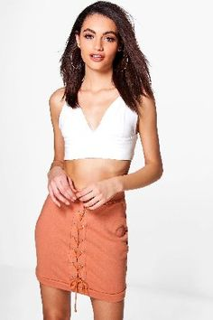 #boohoo Lace Up Front Loopback Casual Skirt - peach #Sloane Lace Up Front Loopback Casual Skirt - peach