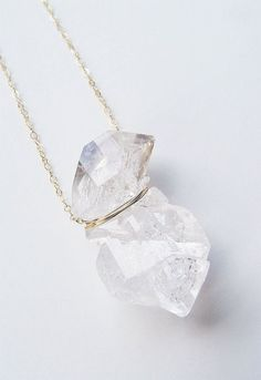 SALE Double Herkimer Diamond Necklace Gold Fillled by friedasophie