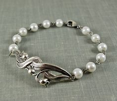 Silver lily of the valley and pearl bracelet