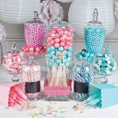 Gender Reveal Candy Buffet Idea | Is it a boy? Is it a girl? Reveal whether your little bundle of joy is a girl or a boy with this sweet baby shower candy buffet idea! #babyshower