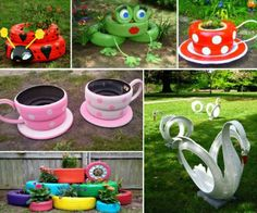 DIY tire planters to make your own eco-friendly flower pots while adding a distinct and unique look to your garden. => http://www.fabartdiy.com/how-to-diy-recycled-tire-teacup-planters/ #diy, #garden, #planters, #tire