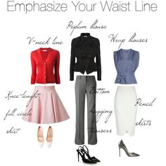 """Outfit options to emphasise your waist silhouette if you are a rectangle body type"" by elsasima on Polyvore"