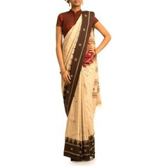The dying art...Earthy Cream & Brown Tussar Kotpad Silk Saree