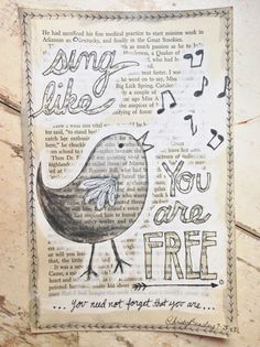 Sing Like You Are Free!:)  Doodle painting on a book page www.christybeasley.com