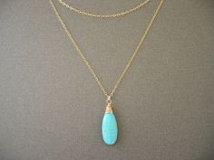 Long Turquoise Gold Necklace Turquoise Necklace by JulianaWJewelry, $38.00