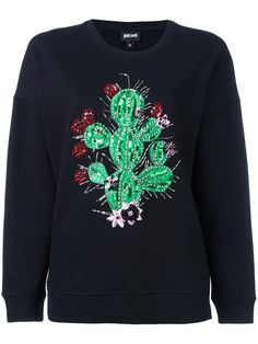 JUST CAVALLI embellished cactus sweatshirt. #justcavalli #cloth #sweatshirt
