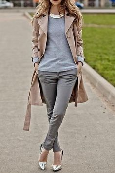 Gotta get some grey pants like this. And a trench. Those silver shoes make it so fun, too.
