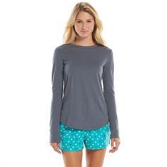 SO® Pajamas: Knit Top & Flannel Shorts Pajama Set - Juniors