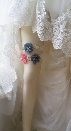 Wedding garter Wedding leg garter Wedding by UniqueCeremony Wedding Garter Set, Lace Garter, Chiffon Flowers, Gray Weddings, Legs, Bridal, Trending Outfits, Grey, Unique Jewelry