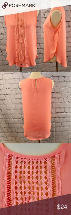 Ya Los Angeles coral sleeveless top Excellent condition. Silk blend. Very lightweight, slightly sheer. Boho lace detail. Ya Los Angeles Tops Blouses