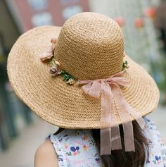 Sweet bow straw hat for women with bow beach wide brim sun hats
