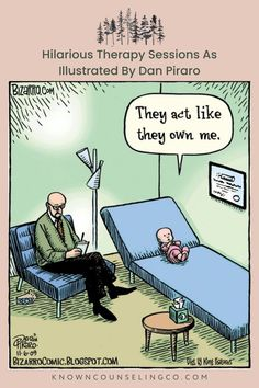 Dan Piraro is an illustrator and cartoonist best known for his single-panel cartoon strip 'Bizarro'. He's created comics depicting a wide variety of topics, including these illustrations of hilarious therapy sessions. They are probably some of his most popular drawings, and they show therapist's encounters with unusual and prominent characters. #funnytherapysessions #therapycomics #funnypsychologycomics #therapyhumor #counselorlife #counselorhumor #knowncounselingco