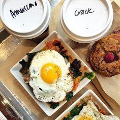 """Morning fuel: his 'n hers @hukitchen Breakfast Bowls (egg, veggies, sweet potato mash), #Paleo raspberry muffin,"