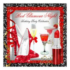 Glitter Red Black Glamour Night Cocktails Party Personalized Invite