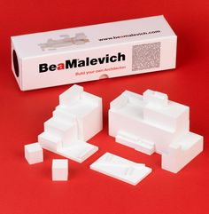 Architecton construction game inspired by Malevich  A construction game where you play being Malevich as you create your own architectons. Handmade out of wood and painted in white, its texture is very similar to the original plaster used by Malevich for his sculptures.