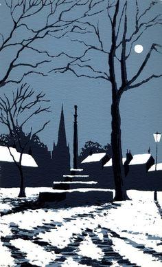 Market Cross in Winter, Masham by Ian Scott Massie. 2 colour, 11 x Winter Landscape, Landscape Art, Landscape Paintings, Nocturne, Linocut Prints, Art Prints, Illustrations, Illustration Art, Linoprint