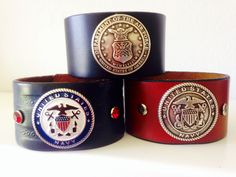 Military cuffs made from repurposed leather.