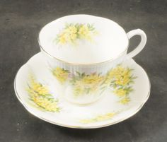 Royal Albert Fine Bone China Cup and Saucer BLOSSOM TIME Series LABURNUM by RarebirdAntiques on Etsy