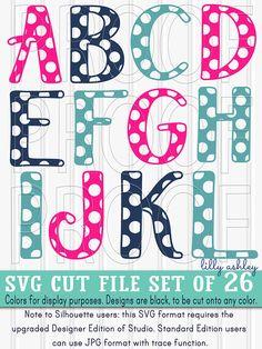 SVG File set of 26 cut files-Polkadot Letters A-Z Uppercase