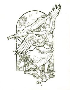Angel of Summer Line Art by =AngelaSasser on deviantART