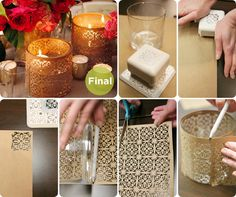 Cast a warm glow over your table with floating candle holders wrapped in beautifully patterned paper.