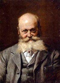 Portrait eines verschmitzten Bartträgers mit Rubinkrawattennadel, Reinhold Werner