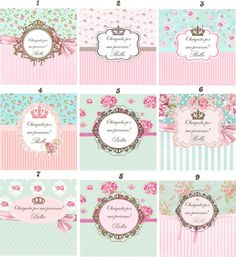 Kit Digital Floral Branco e Rosa Printable Labels, Party Printables, Labels Free, Cumpleaños Shabby Chic, Etiquette Vintage, Diy And Crafts, Paper Crafts, E 500, Tea Party Birthday