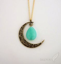 "Vintage Boho Half Moon Pendant, Faceted Teardrop, Simple Cable Chain, Moon pendant 1.65"", LONG 25"" Necklace"