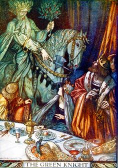The Green Knight is challenging King Arthur. He is, oddly enough, holding a branch. Is it a Christmas themed branch like holly or mistletoe?