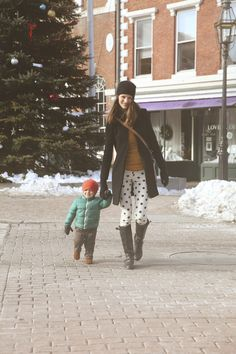 polka dot pants :: Bridget Hunt and adorable Parker in tow.