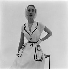 A drawn on dress by Hermes, 1952. Photo by Nina Leen.