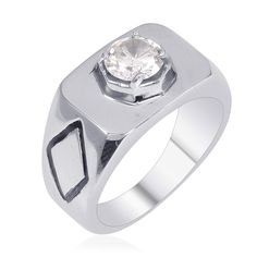 Liquidation Channel | Simulated Diamond Men's Ring in Stainless Steel