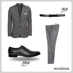 Klasyczny garnitur w odcieniach szarości idealnie komponuje się z czarnymi półbutami Wojas (4001-51). Elegancki pasek Wojas (4962-51) to świetne dopełnienie modnej stylizacji.