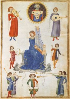 Allegory of music, illuminated page from The Music Institute by Severin Boezio, Italy, manuscript V A folio 27, Italy 14th Century.