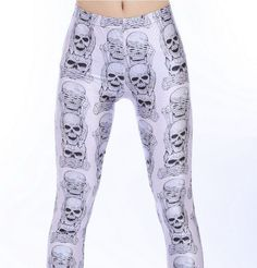 Cat and Mouse Dead Skull Purple Black Gothic Skeleton Skull Tattoo Leggings Cute Plus Size Clothes, Geek Fashion, Fashion Trends, Leggings, Purple And Black, Plus Size Women, Skulls, Fashion Forward, Looks Great