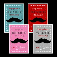 Personalized Mustache Valentine Cards Boy or by CrowHouseDesigns