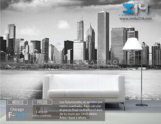 Fotomurales ciudad skyline Chicago Blanco y Negro (Tapiz) (mural) (fotomural) Decoración de muros y superficies lisas. Vinilo 314 Guadalajara Mexico. www.vinilo314.com