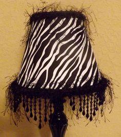 Lamp Black Fringe Beaded Table Lamp Zebra Lamp Shade Accent Lamp Teen Girls Room Decor Upcycled Lighting