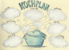 Kochplan, einlaminiert, wiederbeschreibbar