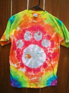 Rainbow Tie Dye Paw Print TShirt by GBDee on Etsy, $12.00
