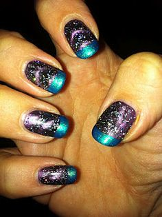 """""""Fancy galaxy nails but don't have the time to do the full mani? Follow my easy three step guide to cheat your way to them!   Step 1- apply magnetic nail polish in a dark colour (I used Nails Inc. Houses of Parliament, a deep purple) which only takes a few minutes extra than a normal mani. Step 2- layer a glitter over the top- smaller glitters with lots of colours work best, rather than hexo chunks. I used Miss Sporty Sparkle Effects, I love the tiny rainbow glitters in it! Step 3- add a…"""