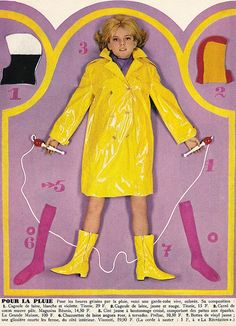 France Gall SLC 1965 France Gall, 1960s Fashion, Fashion Dolls, French Collection, Francoise Hardy, Pvc Raincoat, Girl Photos, Business Women, Vintage Photos