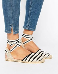Soludos Classic Stripe Ankle Tie Flat Shoes