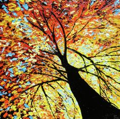 Easy Tree Paintings On Canvas   Fall Tree Oil Painting Poster By Beata Sasik