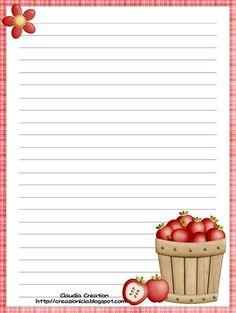 my creative corner: Autumn Printable Lined Paper, Free Printable Stationery, Printable Recipe Cards, Scrapbook Recipe Book, Recipe Paper, Decoupage Vintage, Paper Tags, Stationery Paper, Paper Envelopes